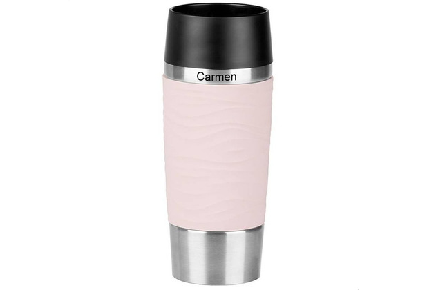emsa Isolierbecher MIT GRAVUR - OBEN - (z.B. Namen) TRAVEL MUG Waves rosa 0,36 Liter