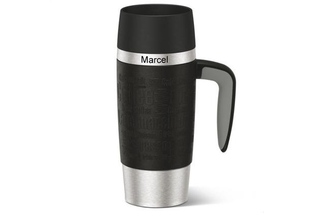 emsa Isolierbecher MIT GRAVUR - OBEN - (z.B. Namen) TRAVEL MUG Handle schwarz 360ml mit Griff/Henkel