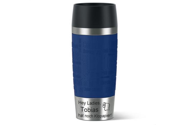 emsa Isolierbecher MIT GRAVUR (z.B. Spruch Hey Ladies - Klopapier + Name) TRAVEL MUG Manschette blau 360ml