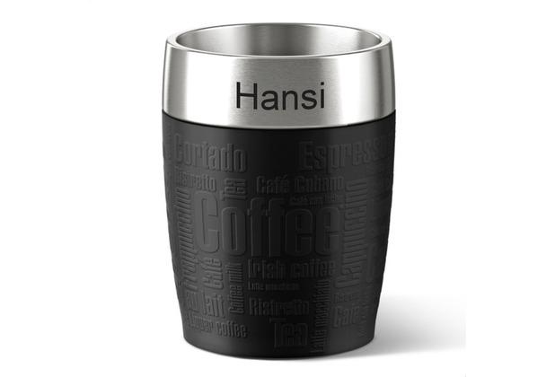 emsa Isolierbecher TRAVEL CUP MIT GRAVUR (z.B. Namen) Schwarz 0,20 Liter