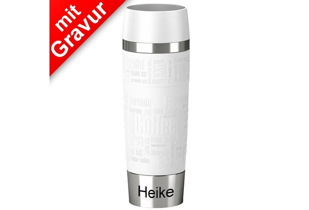 emsa Isolierbecher TRAVEL MUG Grande XXL Manschette Weiß 500ml MIT GRAVUR (z.B. Namen)