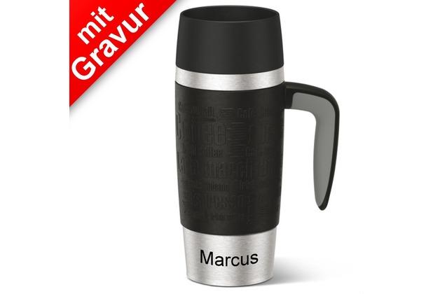 emsa Isolierbecher TRAVEL MUG Handle schwarz 360ml MIT GRAVUR (z.B. Namen) mit Griff/Henkel