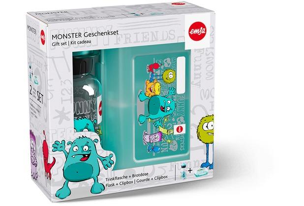 emsa Kinderset Trinkflasche KIDS + Brotdose VARIABOLO 16 x 11 x 7 cm, Monster