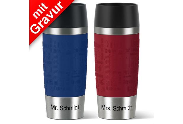 emsa Partnerbecher MIT GRAVUR - UNTEN - (z.B. Mr.+ Mrs. Schmidt) TRAVEL MUG Isolierbecher rot + blau 360ml
