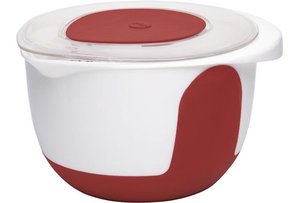 emsa Rührschüssel mit Deckel MIX & BAKE, Weiß/Rot, 3,00 Liter