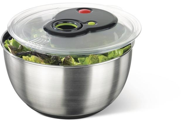 emsa Salatschleuder TURBOLINE, Edelstahl/Schwarz, 4,50 Liter