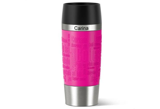 emsa Thermobecher MIT GRAVUR - OBEN - (z.B. Namen) TRAVEL MUG Manschette Himbeere pink 360ml