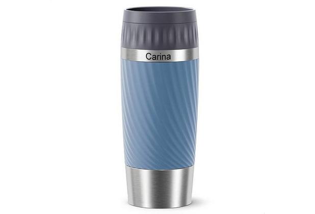emsa Travel Mug Easy Twist MIT GRAVUR - OBEN - (z.B. Namen) 0,36L blau wasserblau