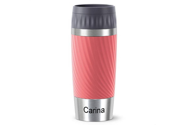 emsa Travel Mug Easy Twist MIT GRAVUR - UNTEN - (z.B. Namen) 0,36L rot Living Coral