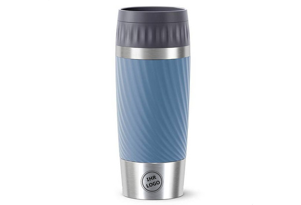 emsa Travel Mug Easy Twist MIT GRAVUR (z.B. Bild/Logo) 0,36L blau wasserblau
