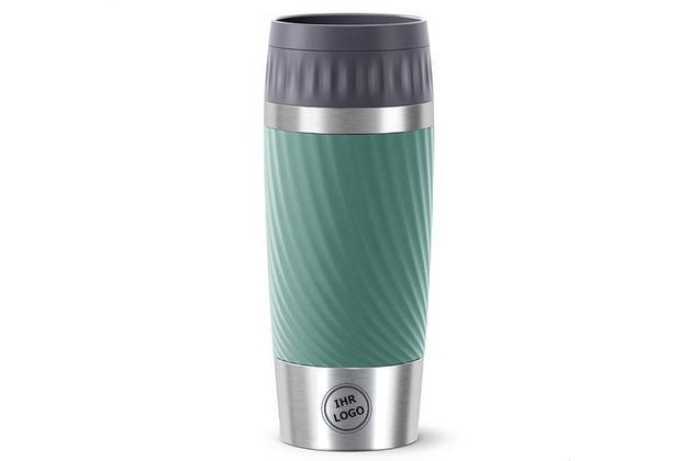 emsa Travel Mug Easy Twist MIT GRAVUR (z.B. Bild/Logo) 0,36L grün Petrol
