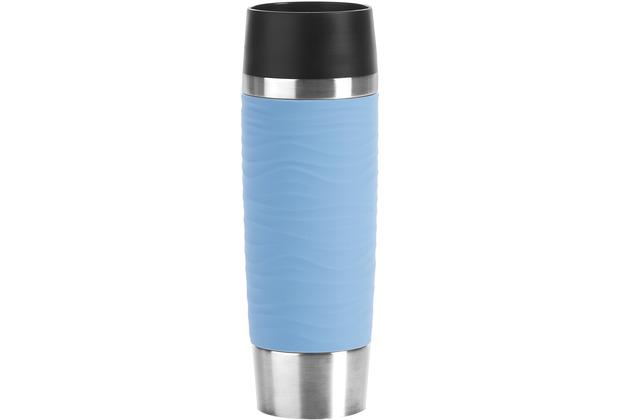 emsa Travel Mug Waves Grande Isolierbecher 0,5L Edelstahl blau Puderblau