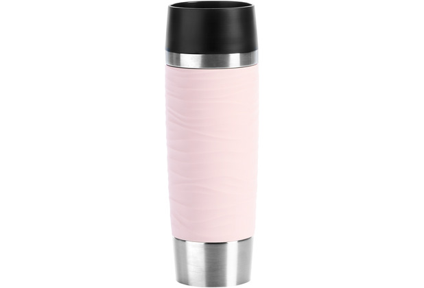 emsa Travel Mug Waves Grande Isolierbecher 0,5L Edelstahl rosa Puderrosa