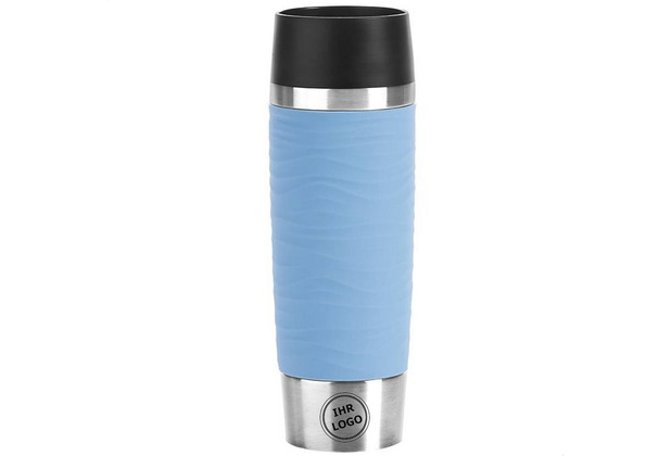 emsa Travel Mug Waves Grande MIT GRAVUR (z.B. Bild/Logo) Isolierbecher 0,5L Edelstahl blau Puderblau