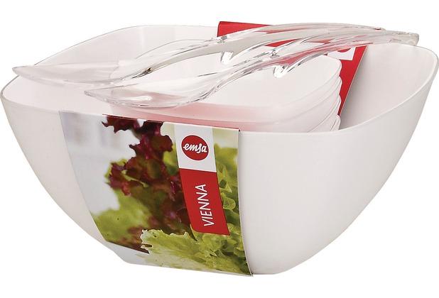 emsa Salat-Set VIENNA 6-teilig, Weiß, Schale 26,50 cm / 14 cm, Salatbesteck