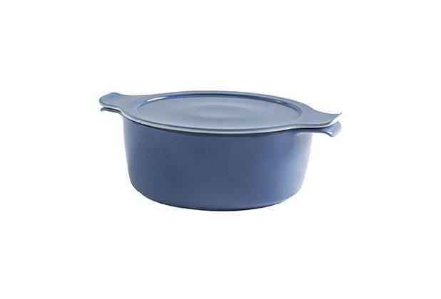 Eschenbach Porzellan COOK&SERVE Kochtopf mit Deckel 1,00 l / 16 cm grau-blau