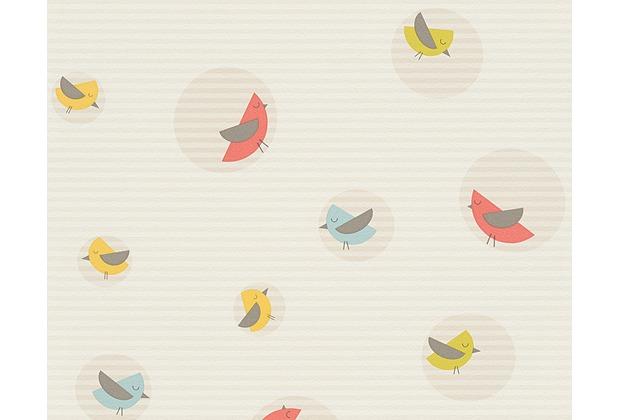 ESPRIT Kids Mustertapete Bubble Birds, Vliestapete, beige, bunt, weiß 10,05 m x 0,53 m