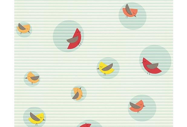 ESPRIT Kids Mustertapete Bubble Birds, Vliestapete, blau, bunt, weiß 10,05 m x 0,53 m
