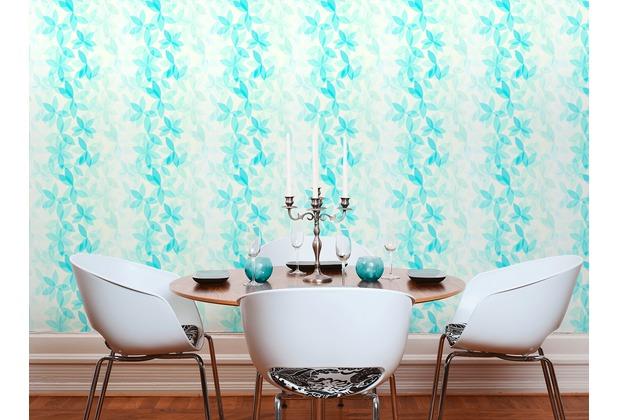 ESPRIT Vliestapete Cool Noon Tapete mit Blumen floral blau grün 10,05 m x 0,53 m