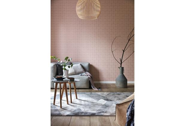 ESPRIT Vliestapete Minimalistic Authenticity Tapete metallic rosa rot 10,05 m x 0,53 m