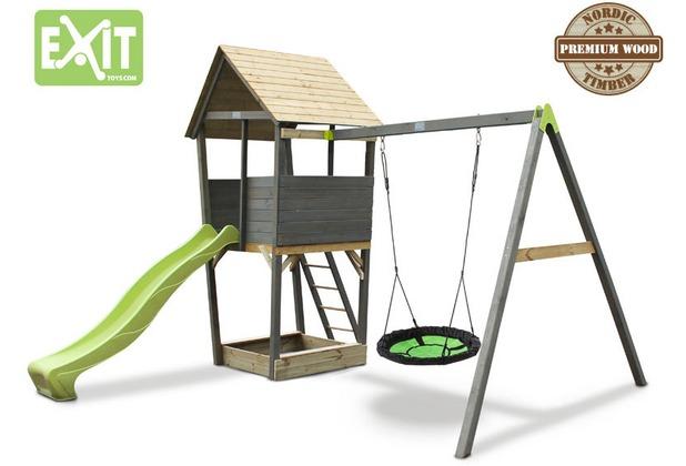 EXIT Aksent Holzspielturm mit Nestschaukel- grau