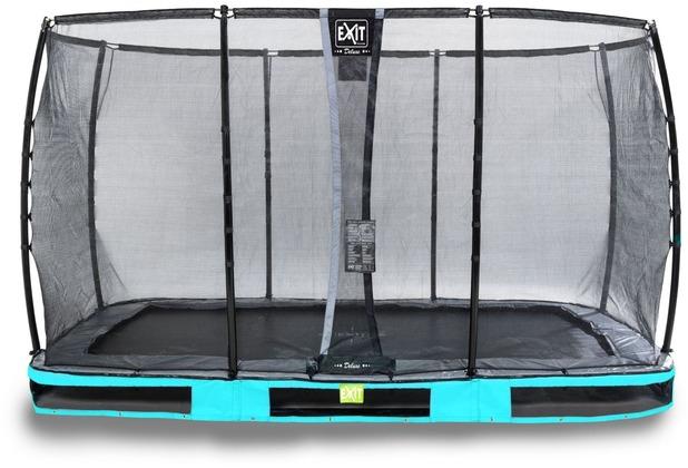 EXIT Elegant Premium Inground-Trampolin 214x366cm mit Deluxe Sicherheitsnetz - blau