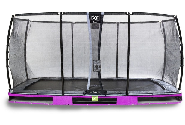 EXIT Elegant Premium Inground-Trampolin 244x427cm mit Deluxe Sicherheitsnetz - lila