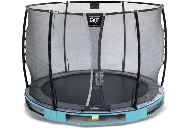 EXIT Elegant Premium Inground-Trampolin ø305cm mit Deluxe Sicherheitsnetz - blau