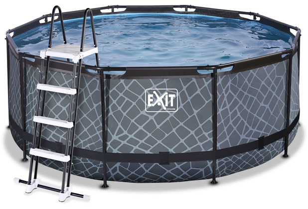 EXIT Stone Pool mit Filterpumpe - grau ø360x122cm