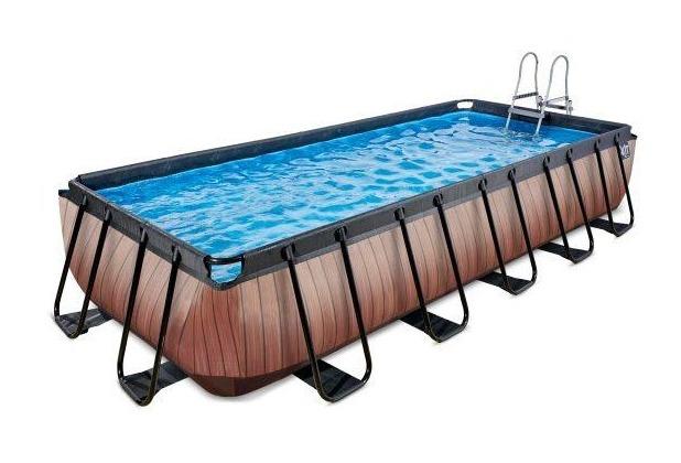 EXIT Pool Holzfarbend 540x250x100cm mit Filterpumpe - braun