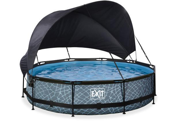 EXIT Stone Pool mit Sonnensegel und Filterpumpe - grau ø360x76cm