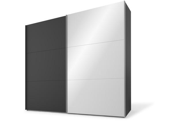 Express Möbel Schwebetürenschrank SWIFT 2-türig, Korpus Basalt und Front Basalt/Spiegel 216 x 150 x 68