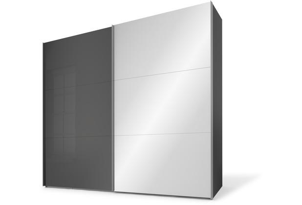 Express Möbel Schwebetürenschrank SWIFT 2-türig, Korpus Basalt und Front Basaltglas/Spiegel 216 x 150 x 68