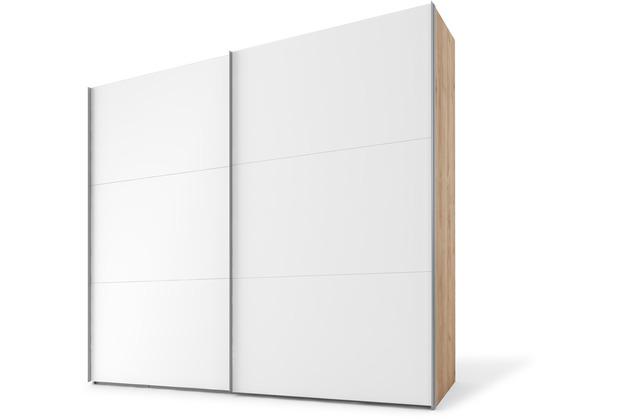 Express Möbel Schwebetürenschrank SWIFT 2-türig, Korpus Jackson-Eiche Nb und Front Polarweiss Dekor 216 x 150 x 68