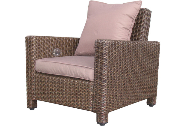 Famous Home Rattan Lounge Loungesessel 86cm Sessel  Sofa Relaxsessel Schlafsessel Braun Braun