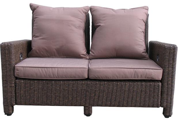 Famous Home Rattan Lounge Sofa 140cm Couch Futon  Couchgarnitur Braun Braun