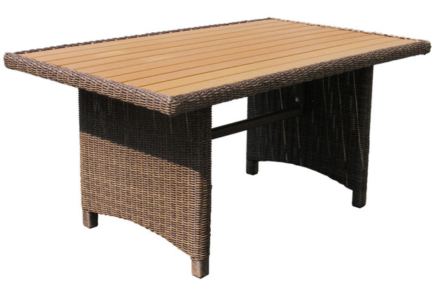 famous home rattan tisch ibiza 150x90cm polystyrol massivplatte polyrattan gartentisch braun. Black Bedroom Furniture Sets. Home Design Ideas