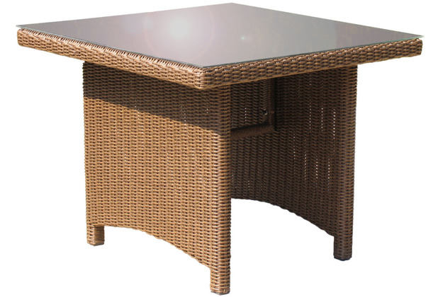 famous home rattan tisch ibiza 90x90cm mit glasplatte polyrattan gartentisch braun. Black Bedroom Furniture Sets. Home Design Ideas