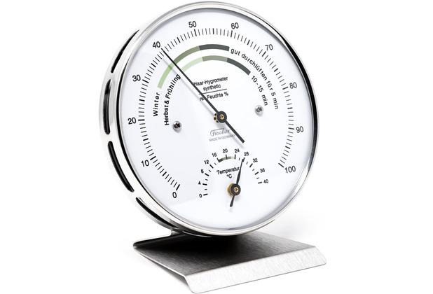 Fischer Messtechnik Wohnklima-Hygrometer mit Thermometer Edelstahlsockel