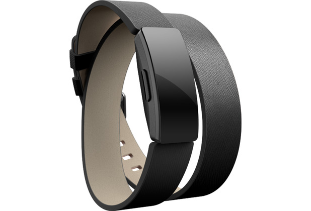 FitBit Inspire,Accessory Band,Double Leather Wrap,Black,One Si