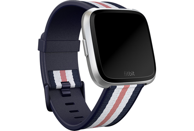 FitBit Versa,Woven Accessory Band,Navy/Pink,Small