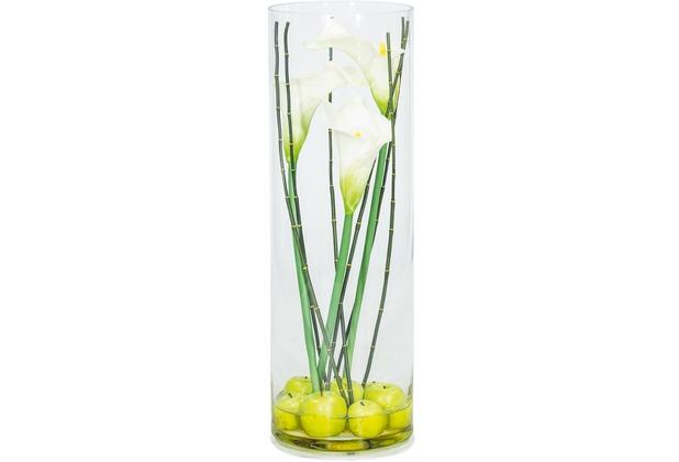 fleur ami NATURAL ILLUSION Glasvase, 25/75 cm, Calla weiß, Bambus, Äpfel