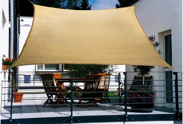 Floracord HDPE Balkonsonnensegel 270 x 140 cm weizen inkl. 4 x 3 m Kordel Wind- und Wasserdurchlässig