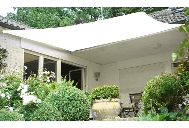 Floracord HDPE Vierecksonnensegel creme weiß 360 x 360 cm creme Wind- u. Wasserdurchlässig