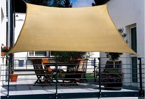 Floracord HDPE Balkonsonnensegel 270 x 140 cm creme weiß inkl. 4 x 3 m Kordel Wind- und Wasserdurchlässig