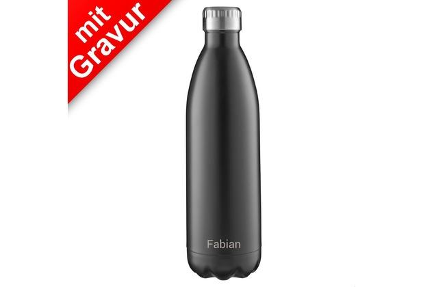 FLSK Isolierflasche 1000ml Black schwarz MIT GRAVUR (z.B. Namen)