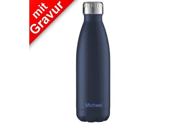 FLSK Isolierflasche 500ml Midnight Blue MIT GRAVUR (z.B. Namen) dunkelblau