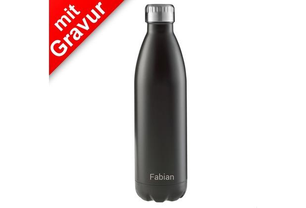 FLSK Isolierflasche 750ml Black schwarz MIT GRAVUR (z.B. Namen)