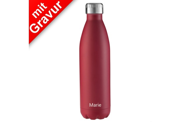 FLSK Isolierflasche 750ml Bordeaux rot MIT GRAVUR (z.B. Namen)
