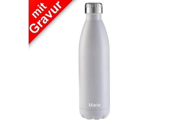 FLSK Isolierflasche 750ml White weiß MIT GRAVUR (z.B. Namen)